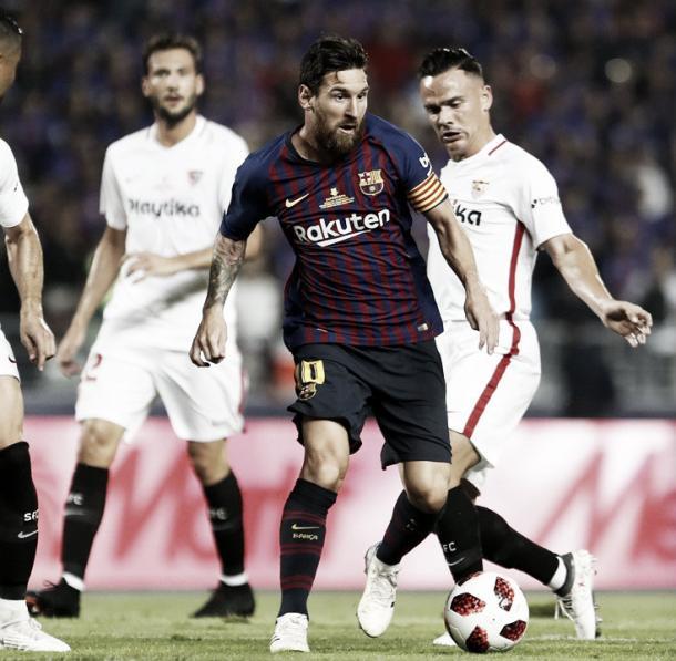 Leo Messi, en el encuentro de la Supercopa de España frente al Sevilla / Fuente: FC Barcelona
