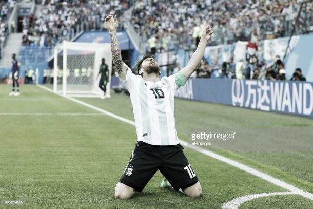 Messi celebra el 1-0 logrado frente a Nigeria / Fuente: Getty Images
