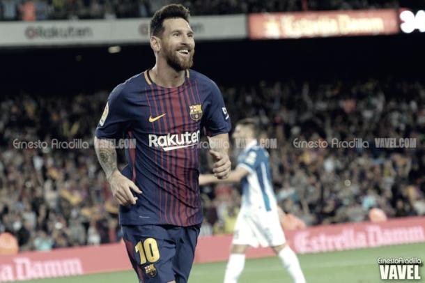 Leo Messi celebrando un gol/ Ernesto Aradilla (VAVEL)
