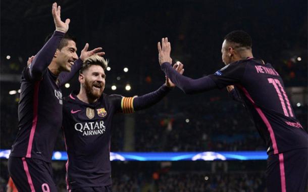 L'esultanza della MSN al gol del momentaneo vantaggio di Messi (Fonte foto: Sport English)