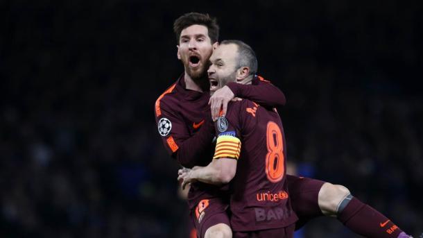 A Stamford Bridge, goal di Messi su assist di Iniesta | www.twitter.com (@FCBarcelona)