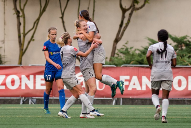 North Carolina midfielder Sam Mewis scored twice in the 2-1 victory over Seattle on August 13, 2017. | Photo: @TheNCCourage