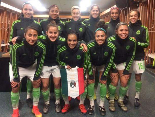 Mexico's starting XI for their match against Canada, featuring Seattle Reign FC draftee Katie Johnson. (Soure: Twitter @miseleccionmx)