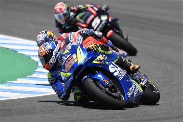Rins no pudo finalizar la carrera en Jerez. Foto: Suzuki.