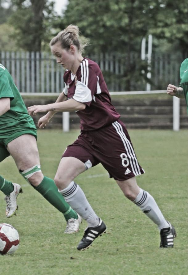Hearts' Michelle Stewart against St Roch's Photo: Aaron Wilson