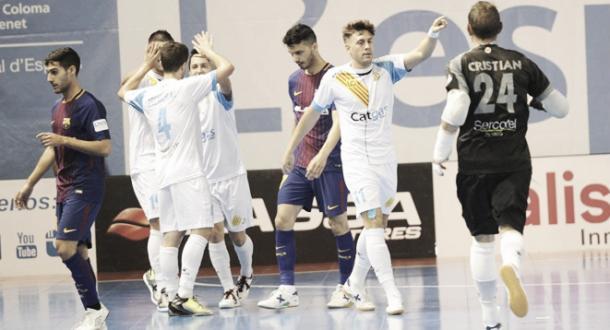 Algunos de los nuevos celebran un gol ante el Barcelona   Foto: LNFS