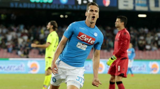 Milik, dopo il gol del 2-1 al Bologna - Foto Getty Images