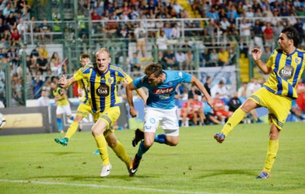Il gol di Milik contro il Trento - Foto Getty Images