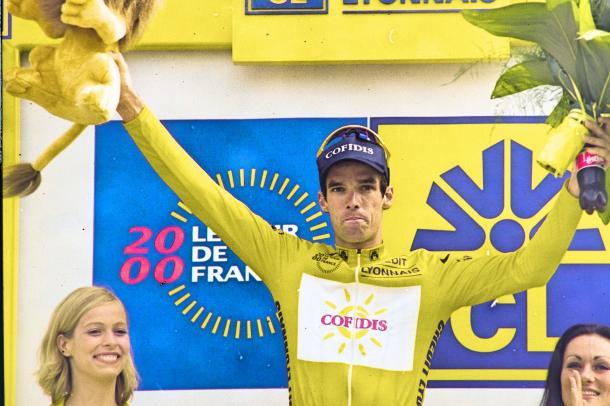 David Millar maillot jaune en 2000.