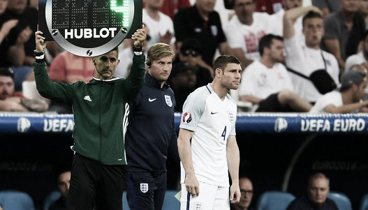 Milner replaced Raheem Sterling late on in the match against Russia (image: skysports,com)