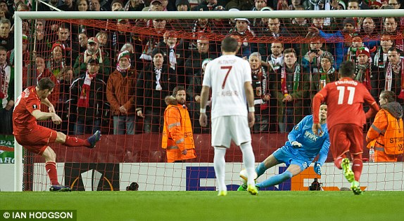 Milner's penalty secured progression against Augsburg (photo: Ian Hodgson)