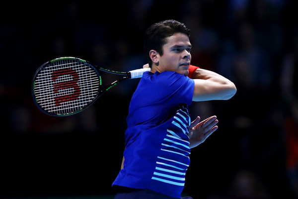 Raonic competing against Monfils on Day 1 of the ATP World Tour Finals on Sunday (Photo by Julian Finney / Getty Images)