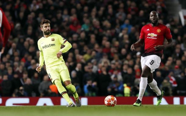El central azulgrana durante el partido en Manchester / Foto: FC Barcelona