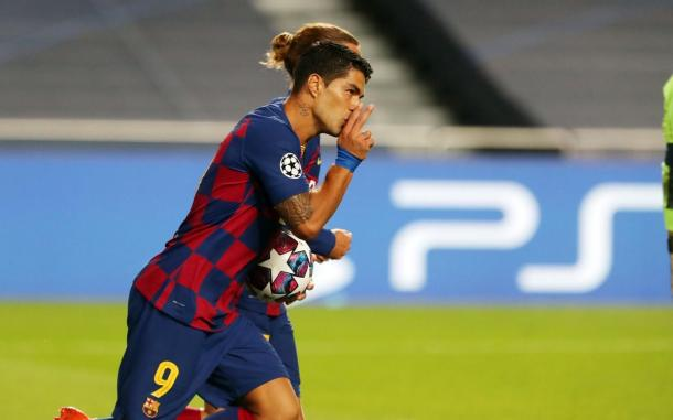 Luis Suárez celebrando su gol. | Foto: Miguel Ruiz - FC Barcelona
