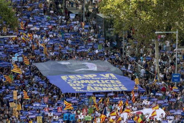 Colectivo independentista en la manifestación | Foto: La Vanguardia