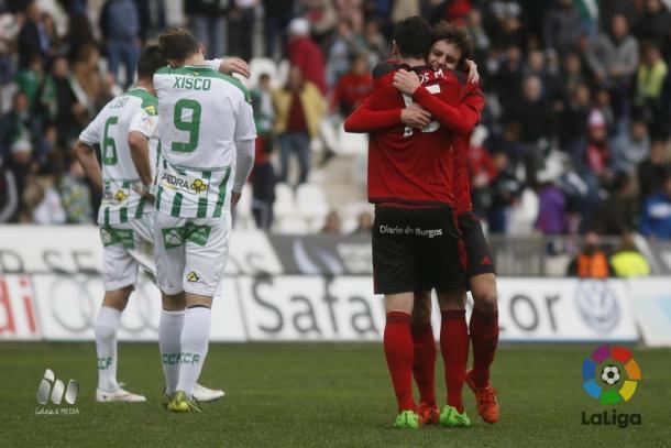 El Córdoba se vio superado por el Mirandés en uno de sus peores partidos en casa / Fuente: La Liga