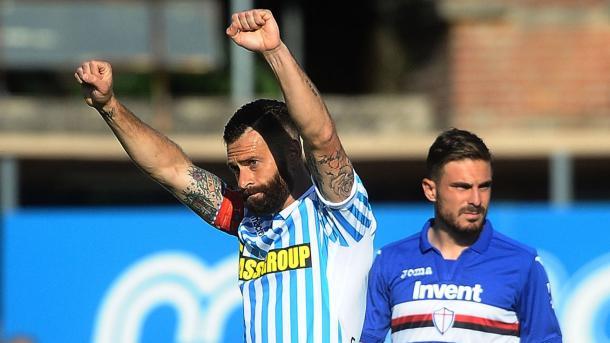 Antenucci tras marcar uno de los dos goles a la 'Samp'. / Foto: spalferrara.it