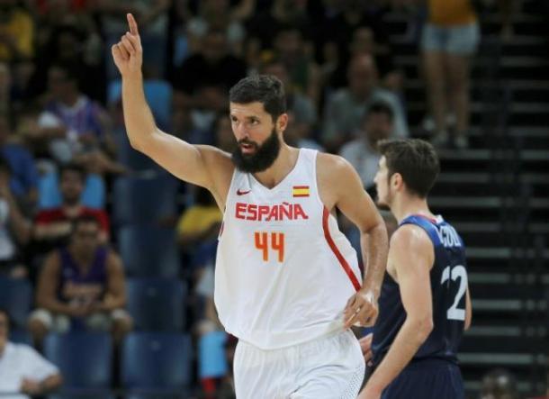 Nikola Mirotic (44) has been huge for Spain. Photo: Jim Young/Reuters