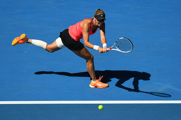 Lucic-Baroni had heavy strapping on her leg (Photo by Quinn Rooney / Getty Images)