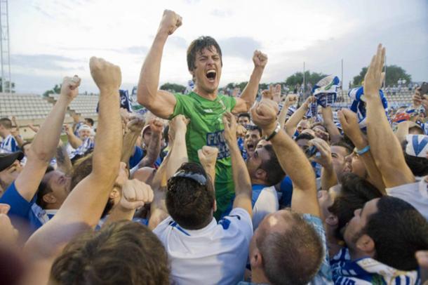 Mantovani celebrando el ascenso a segunda división - Fuente: CD Leganés