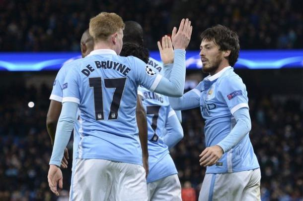 City players celebrate during an enthralling win in midweek (Image: Mirror)