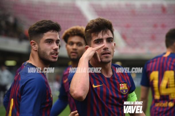 Imagen de los jugadores del Juvenil A celebrando el primer gol culé. FOTO: Noelia Déniz