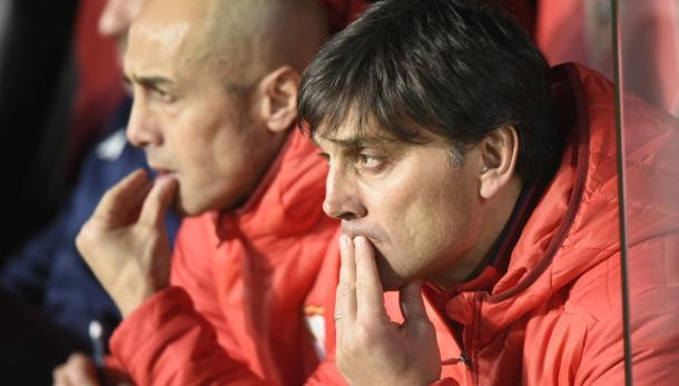 Montella pensativo durante el partido de vuelta ante el Cádiz / Foto: SFC