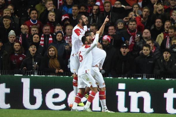 L'esultanza dei montenegrini al goal di Beciraj a Copenaghen | www.twitter.com (@DetrasDel_Balon)