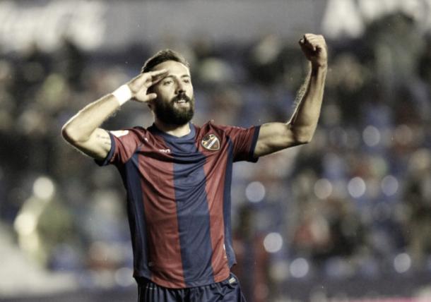 Morales celebrando el gol contra el Girona FC | Foto: Levante UD.