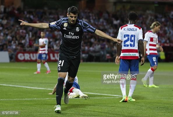Alvaro Morata celebrates scoring against Granada CF last season. (Source: Angel Martinez/Getty Images)