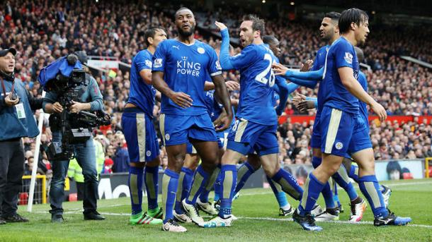 Wes Morgan and his team-mates celebrate his goal at Old Trafford last weekend | Photo: Getty