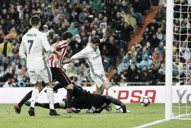 Morata encajando el gol de la victoria // Foto: Real Madrid FC