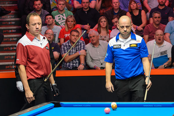 Van Boening and Appleton are veterans of the Mosconi Cup but had differing fortunes on day two (photo: Matchroom Pool)