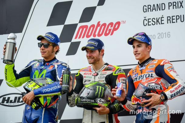 Cal Crutchlow taking the top spot of the MotoGP podium for the first time again... just because - www.motorsport.com