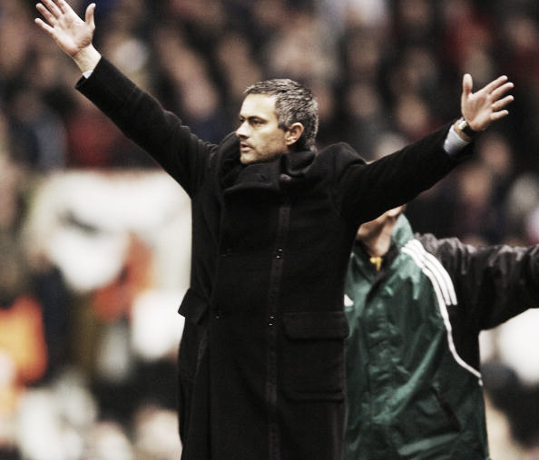 Jose Mourinho in animated mood at Old Trafford as Porto boss in 2004 (Photo: John Peters / Getty Images)