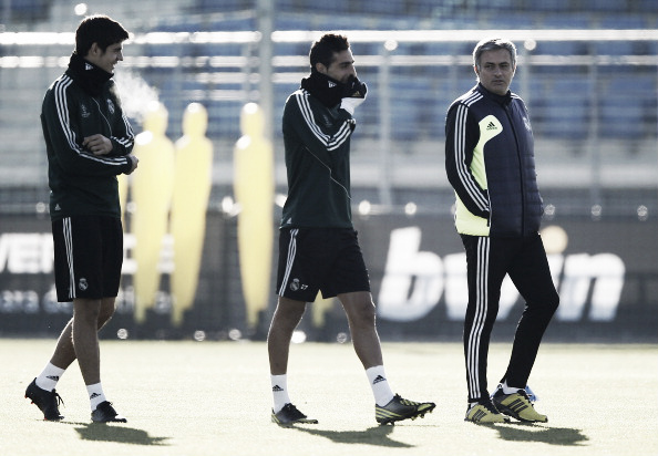 Morata (left) in training with Mourinho at Real Madrid | Photo: Real Madrid/ Helios de la Rubia