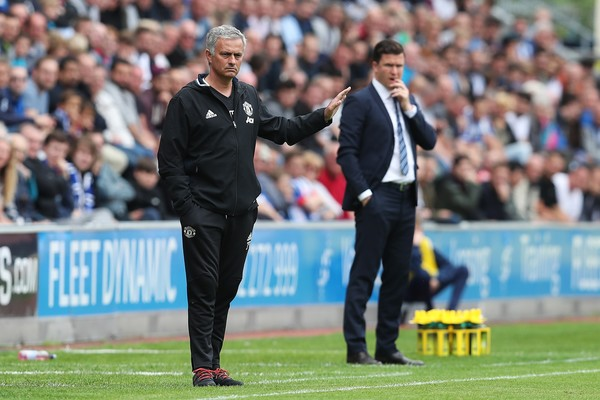 Mourinho on the sideline in the Wigan friendly | Photo: getty images