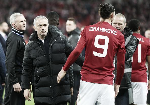 Mourinho mostrou-se feliz com o retorno de Ibra à equipe Old Trafford (Foto: Catherine Ivill - AMA/Getty Images)
