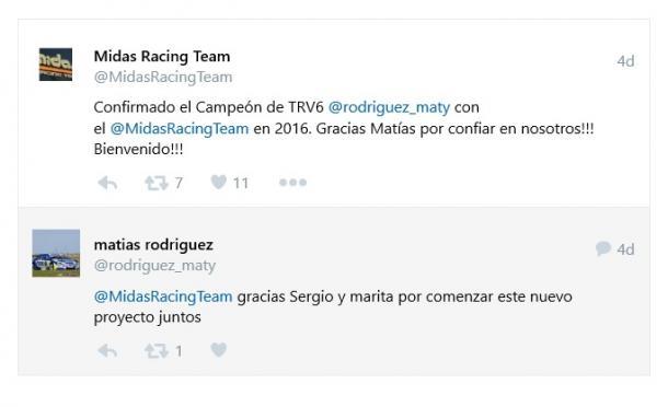 Confirmación del Midas Racing Team y del piloto. Foto: Twitter.