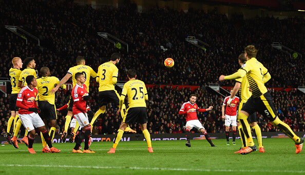 Juan Mata scoring the winner for United against Watford with a beautiful free-kick | photo: Getty Image