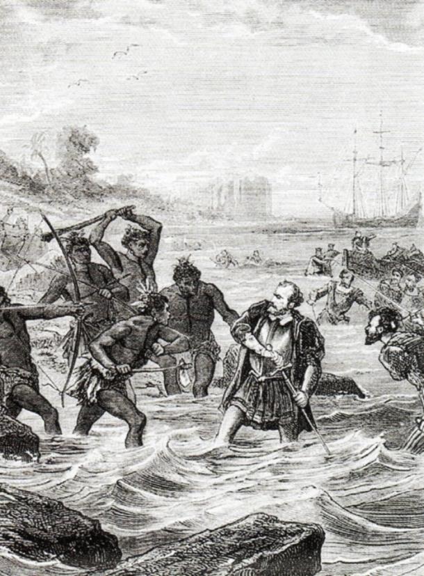 Grabado que muestra el momento de la muerte de Magallanes. Fuente Wikicomons