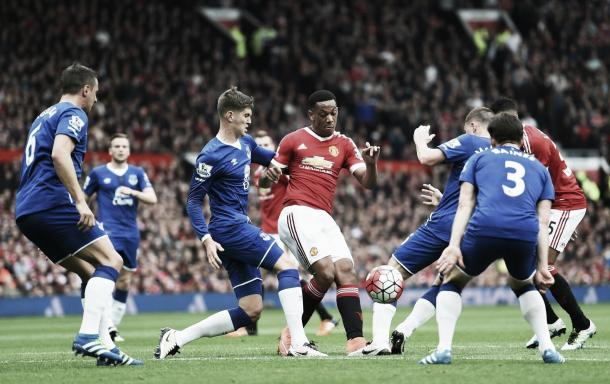 Anthony Martial is crowded out by the Everton defence during a keenly contested first-half. | Photo: Getty Images