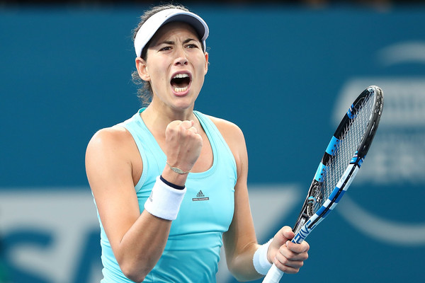 Muguruza shows emotion during her match with Kuznetsova (Photo by Chris Hyde / Getty Images)