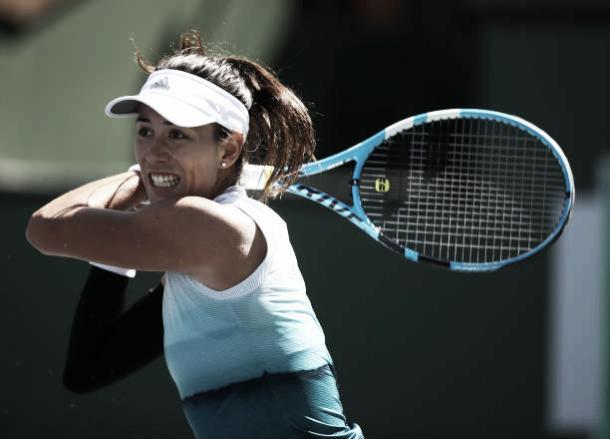 Garbiñe Muguruza, durante su partido de Indian Wells ante Bianca Andreescu. Foto:gettyimages.es