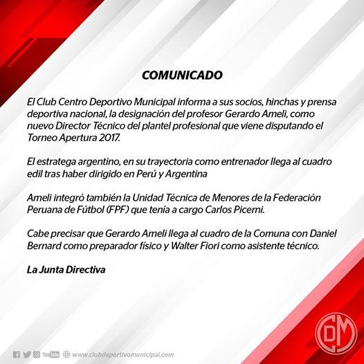 Gerardo Ameli se convierte en nuevo entrenador del equipo — Deportivo Municipal
