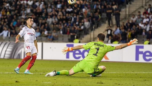 Munir marcando el segundo gol del encuentro | Foto: Sevilla FC