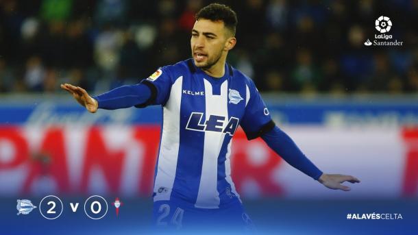 Munir se ha adaptado fenomenalmente al juego del Alavés y se le ve disfrutar. Fuente: deportivoalaves.com