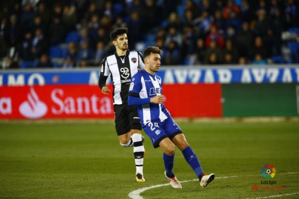 Munir, jugador alavesista expulsado incomprensiblemente en el minuto 77. Fuente: La Liga