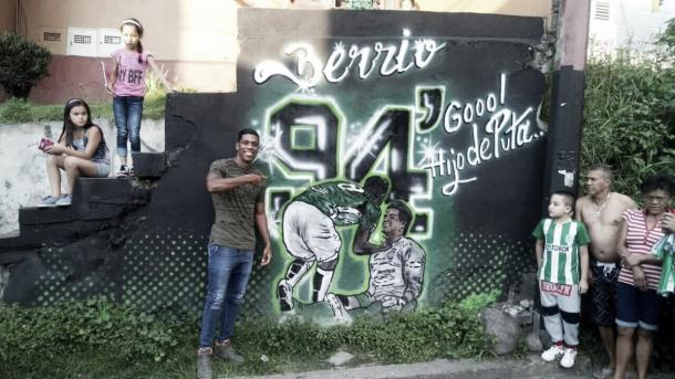 Mural en honor a ese momento épico e inmortal de la Copa Libertadores 2016 | Foto: tomado de internet