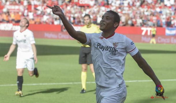 Muriel celebra el gol ante el Málaga | Fotografía: LaLiga